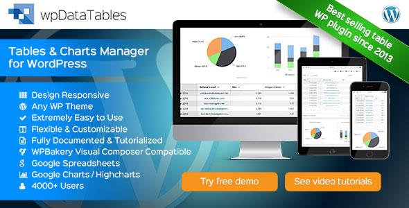 wpDataTables v1.6.1 - Tables and Charts Manager for WordPress