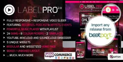 Nulled Music Label Pro – Responsive Music WordPress Theme