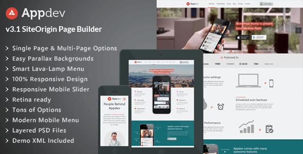 Appdev v3.8 – Responsive Mobile App Showcase WordPress Theme