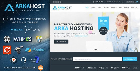 Arka Host v5.1.3 – WHMCS Hosting, Shop & Corporate WP Theme