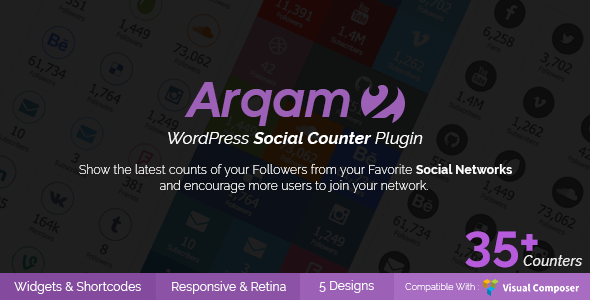 Arqam v2.0.4 – Retina WordPress Social Counter Plugin