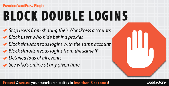 Download Block Double Logins v1.1   Premium WordPress plugin…