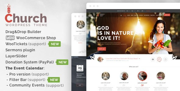 Church and Events v1.7 – Responsive WordPress Theme