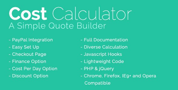 Cost Calculator With PayPal Integration JavaScript Plugin