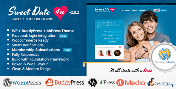 Download – Sweet Date v2.8.2 More than a WordPress Dating Theme