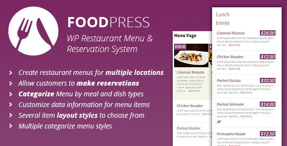 Foodpress v1.3.4 – Restaurant Menu & Reservation Plugin