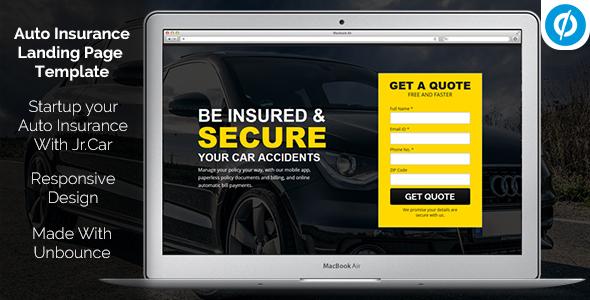 Jr. Auto Insurance Landing Page - Responsive Unbounce Template