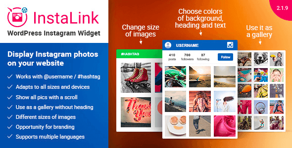 InstaLink v2.1.9 – Premium WordPress Instagram Widget plugin