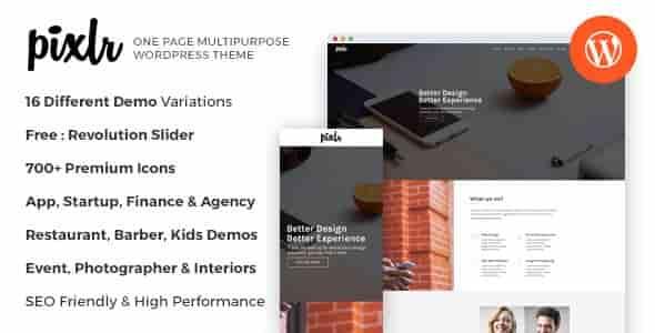 Pixlr v1.0 – Responsive One Page Multipurpose WordPress Theme