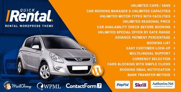 Quick Rental v1.0 – Vehicles Booking WordPress Theme