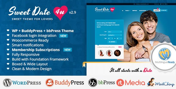 Sweet Date v2.9 – More than a WordPress Dating Theme