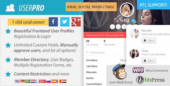 UserPro v2.65 – User Profiles with Social Login WP Plugin