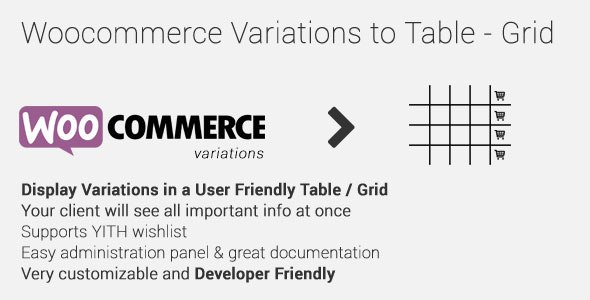 Woocommerce Variations to Table – Grid v1.2.0 WP Plugin